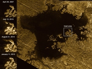 NASA's Cassini spacecraft pinged the surface of Titan with microwaves, finding that some channels are deep, steep-sided canyons filled with liquid hydrocarbons. One such feature is Vid Flumina, the branching network of narrow lines in the upper-left quadrant of the image. Credit: NASA/JPL-Caltech/ASI