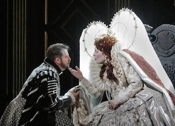 Sondra Radvanovsky as Elisabetta and Matthew Polenzani in the title role of Donizetti's Roberto Devereux. Photo by Ken Howard/Metropolitan Opera.